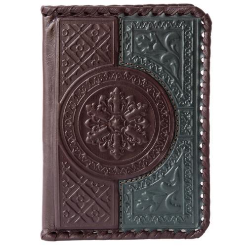 Обложка для паспорта. Цвет коричнево-зелёный. Арт. 009-08-41